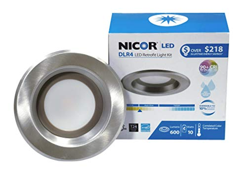 NICOR Lighting 4 inch Nickel LED Recessed Downlight in 3000K (DLR4-3006-120-3K-NK)