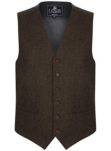 Lloyd Attree & Smith Herren Weste Braun Tweed Design (Größe L)