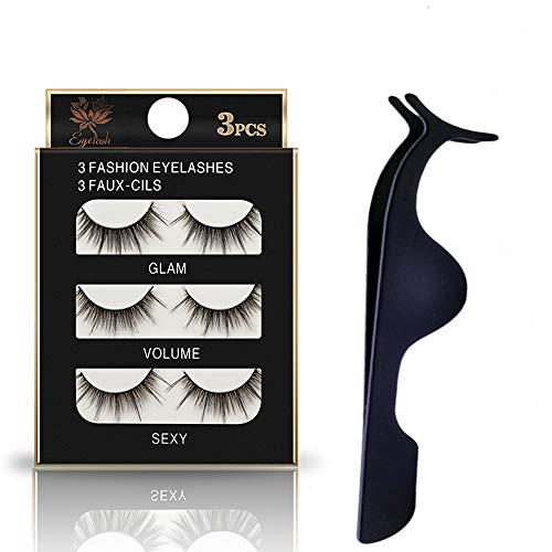 False Eyelashes 3D Lashes Pack Fluffy Long Fake Lashes Reusable Eyelashes 3 Pairs fake eyelashes