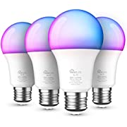 Smart Bulb 4 Pack, Color Changing Light Bulb Dimmable Multicolor and White LED Bulb, Works with Alexa, Google Assistant, A19 E26 9W (60W Equivalent) 800 Lumen, No Hub Required, Smart Home Lights