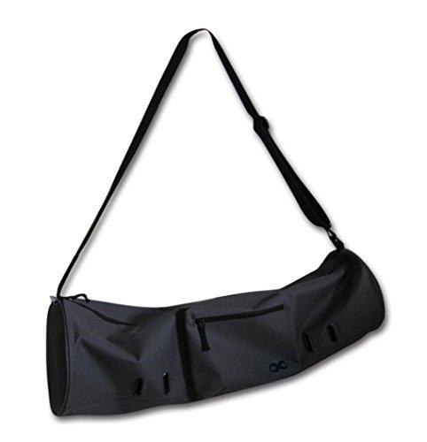 Yogaaddict - Borsa grande da yoga 'Compact' con tasche e cerniera, 71,1x 20,3cm e 73,7x 27,9cm di lunghezza, adatta per tappetini di tutte le dimensioni, larghezza extra, cinghia regolabile, facile accesso, uomo Donna, Dark Grey