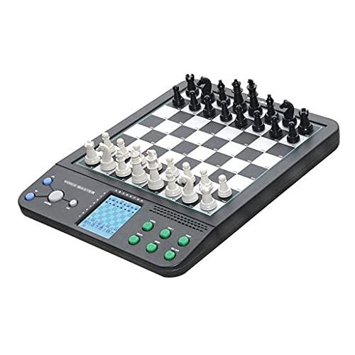 ZHBH Juego de ajedrez clásico Ajedrez electrónico Juego de Tablero de ajedrez en Blanco y Negro dedicado, Puede ser jugado por Humanos y máquinas Tablero de ajedrez electrónico Inteligente Viajes