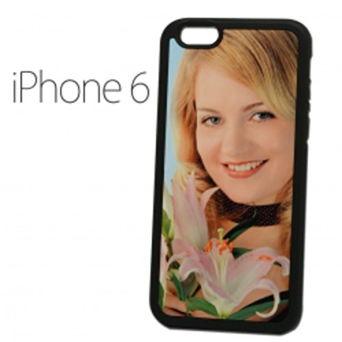 Sticker Design Shop iPhone 6 / 6S mobiele telefoon hoes schaal cover case gepersonaliseerde beschermhoes individueel bedrukt met uw wens, fotologo motieven tekst, Randkleur zwart.