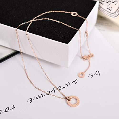 Shukun ketting 18K Rose gouden ketting vrouwelijke sleutelhanger korte cirkel hanger wild titanium staal accessoires (2 stuks)
