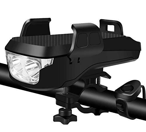 Fovor Multifunktion 4 in 1 Fahrradlicht Led Fahrradscheinwerfer mit 4000Mah Power Bank Sto/ßfestem Handelhalter Fahrradhupe f/ür Motorr/äder Und Fahrr/äder