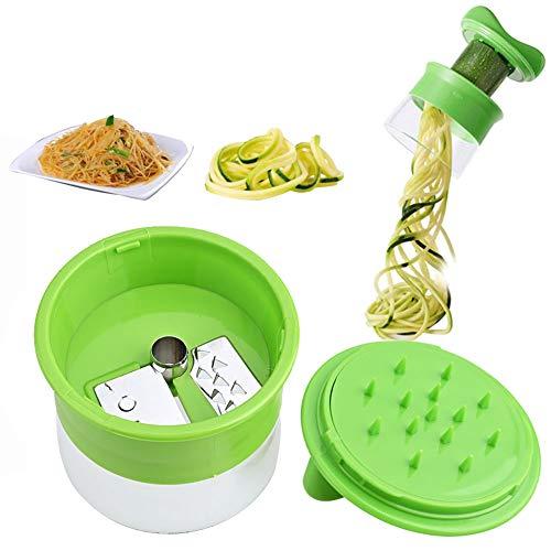 ZXCV Handheld Karotte Kartoffel Gurke Spirale Reibe Cutter Gemüse Obst Slicer Salat Nudel Spaghetti Zucchini Blade Spiralizer,Grün