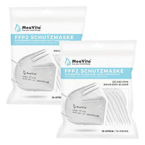 MeaVita FFP2 Einweg Mund- und Nasenschutz, 20er Pack, Einweg Maske, TÜV Rheinland geprüft