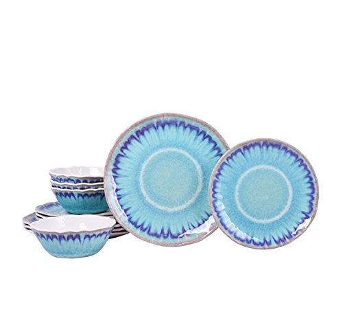 Sea Splash Turquoise 12 Piece Melamine Dinnerware Set