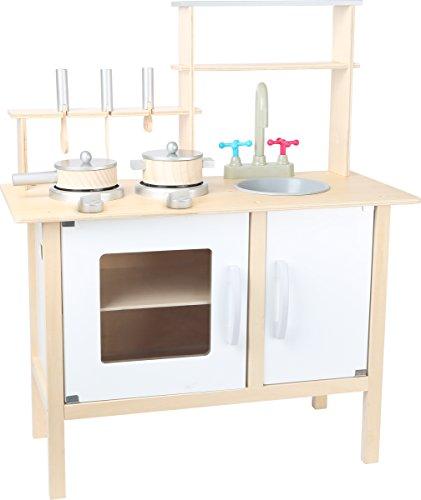 Small Foot 10597 kinderkeuken van hout met plank als legvlak, twee kookplaten en wastafel en oven en keukenkast, inclusief Drie keukenhulpen, pan en top met deksel.