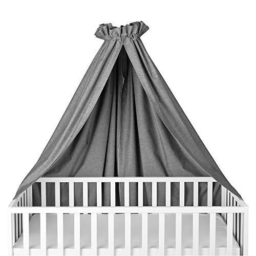 Sugarapple Himmel für Kinderbetten, Babybetten seitlich, quer verwendbar, Oxford grau, 100% Öko-Tex Baumwolle, 280x170 (BxH) cm