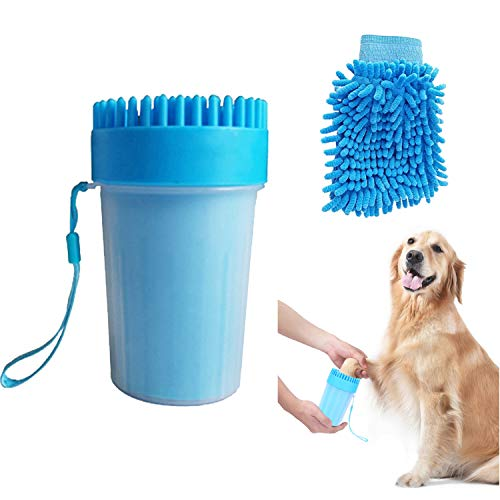 Portable Dog Paw Cleaner Cup Set,2-in-1 Silicone Dog Paw Washer Cup With...