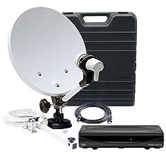 Telestar HDTV SAT Camping satellitsystem med Imperial DB 6 S HD (HD-mottagare, 35cm spegel, enda LNB, kabel, annan hållare) svart