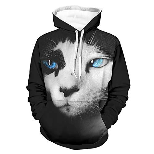 Sudadera unisex con ojos azules y gato divertido, holgada, cómoda, chaqueta de entrenamiento, color blanco
