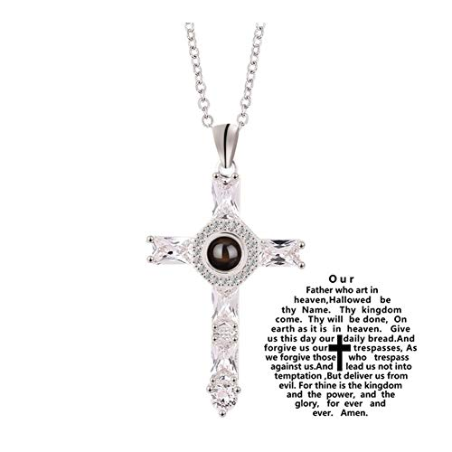 chenyou Pendant Cross 100 Language Projection Necklaces Christian Church Colden Priest Crucifix Orthodox Pendants Necklace Valentines Charm Gift necklace (Metal Color : Xl1366)