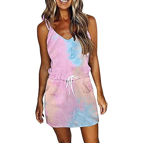 AMhomely Vestidos casuales para mujer de verano de fiesta, elegante, a rayas, con cuello en V, a rayas, cintura halter sexy, vestido de playa, mini vestido maxi vestido de talla británica