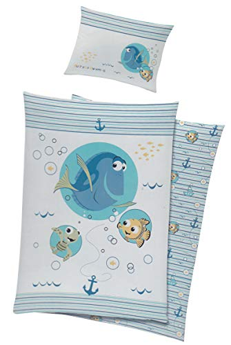 Unbekannt Baby Kinder Bettwäsche Disney Nemo & Dorie Bezug 100x135cm (Blau)