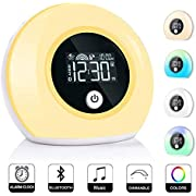 Wake Up Light Alarm Clock, Bluetooth Speaker Table Lamp Kids Alarm Clock for Bedroom, Tap/Knock to Change Color Lights, Night Light Music Player for Party, Camping, Birthday Gift