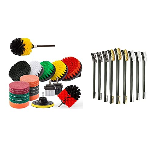 Monland 25Pcs Drill Brush Power Cleaning Scrubber Brush Attachment Kit with 9Pcs Wire Brush Set Scratch Wire Bristles Set