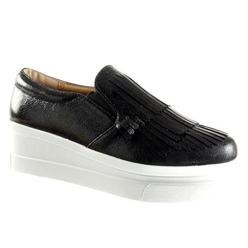 Angkorly - Damen Schuhe Mokassin - Slip-On - Plateauschuhe - Fransen - Patent Keilabsatz high Heel 5.5 cm - Schwarz 929-1 T 39