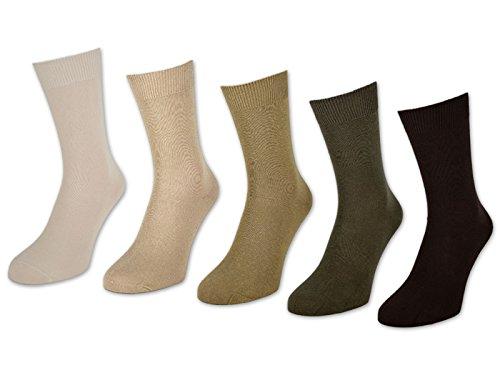 sockenkauf24 10 bis 60 Paar Herrensocken 100% Baumwolle ohne Naht Business Herren Socken (43-46, 20 Paar - Beige/Braun)