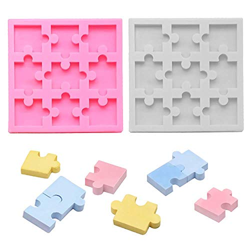2Pcs Puzzle Piece Silicone Chocolate Mold Fondant Candy Gumpaste Mold Cupcake Cake Decorating Tool Gummy Fat Bombs Mould Wax Samples Epoxy Resin Mold Puzzle Crayons Maker