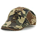 VCOROS Men's Cotton Camouflage Style Flat Cap Ivy Gatsby Newsboy Hunting Hat (12490 Coffee Camouflage)