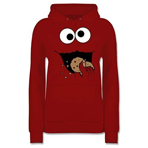 Karneval & Fasching - Keks-Monster - XS - Rot - lustiger Pulli - JH001F - Damen Hoodie und Kapuzenpullover für Frauen