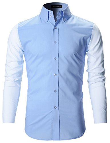 FLATSEVEN Mens Contrast Colorblock Collar Slim Fitted Shirt (SH1003) White, M
