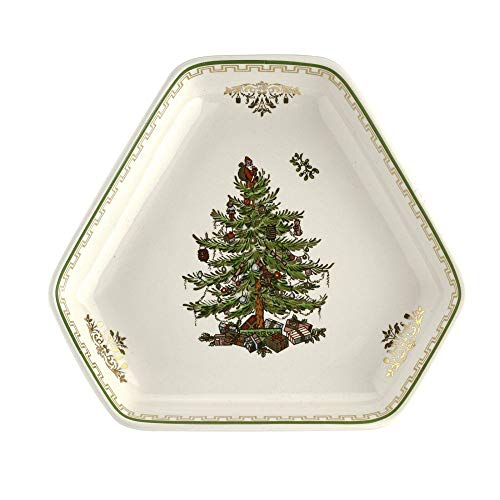 Spode Christmas Tree Hexagonal Dish 5.25' Gold