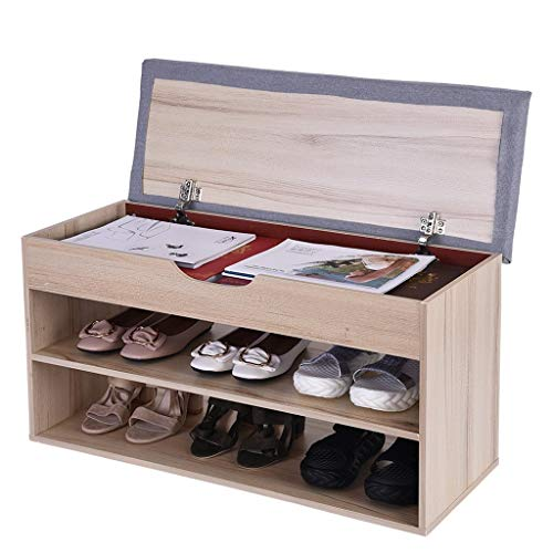 Entryway Shoe Storage Bench, Beyonds White Shoes Shelf Rack with Innovative Flip Cover Drawers &Two-Tier & Padded Seat Cushion, Hallway Bathroom Wooden Cabinet