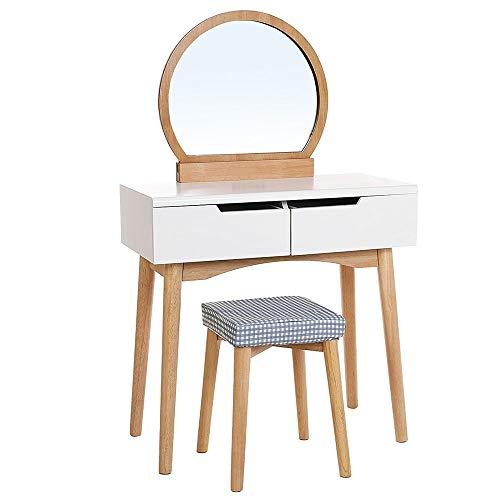 Table de Maquillage avec Miroir Grand Maquillage Vanity Table Bureau avec tiroirs et Miroir (Couleur : Wood Color, Taille : 80 * 40 * 128cm)