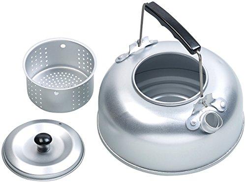 Semptec Urban Survival Technology Kochen: Camping-Kessel aus Aluminium mit Tee-Sieb und isoliertem Griff, 0,75 l (Camping Wasserkessel)