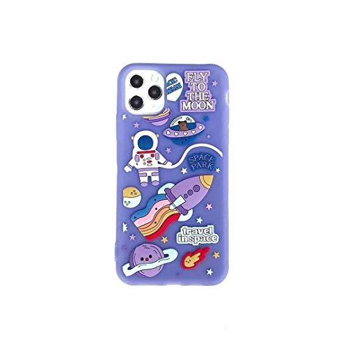 SevenPanda für iPhone 12 Hülle Astronaut, 3D Cartoon Mond Rakete Raum Park mit Niedlichen Gleiches Ringband Silikon Kasten Abdeckung für iPhone 12 Pro 6.1 Zoll - Lila
