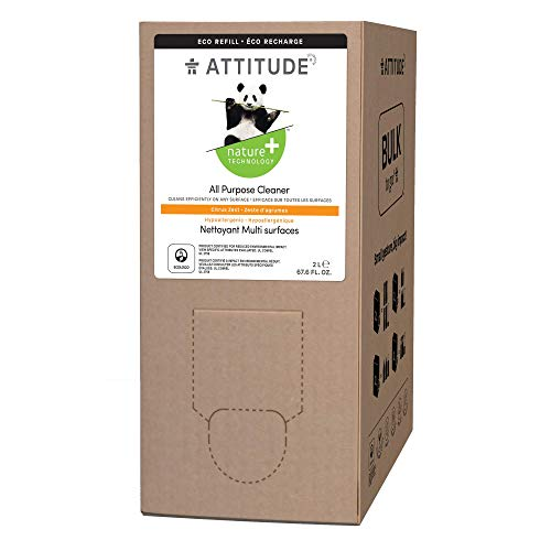 ATTITUDE Recharge de nettoyant multi-usage, emballage en vrac, biodégradable, végétalien et sans cruauté envers les animaux, zeste d'agrumes, 2 litres