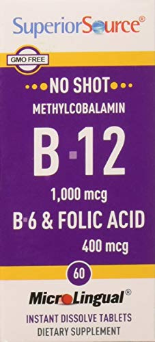 Superior Source No Shot Methylcobalamin B12, B6, Folic Acid (1,000mcg, 2mg, 400mcg, 60 MicroLingual Tablets)