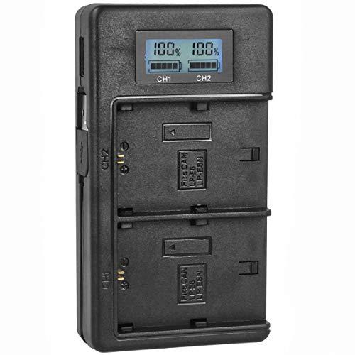 Minadax Dual lader LCD display vervanging voor LP-E6/LP-E6N accu's | oplader powerbank functie | USB-uitgang | oplaadbaar in de auto, laptop, onderweg