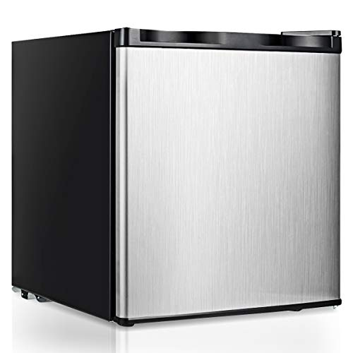 COSTWAY Compact Upright Freezer Countertop, 1.1 cu. ft. Mini Size with Reversible Stainless Steel Door and Adjustable Removable Shelves, Single Door Vertical Freezer for Home, Dorm, Office