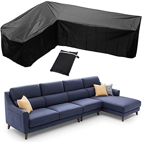 Garden Furniture CoversCorner Sofa, V/L Shaped Outdoor Patio Set Cover, Heavy Duty Sectional Furniture Cover, Waterproof Dustproof 210d Protector Couch Cover, Black,286x222cm(Right L)