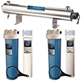 BLUONICS 110W UV Ultraviolet + Sediment & Carbon Well Water Big Blue Size 4.5' X 20' Filters for A Large Home/Commercial