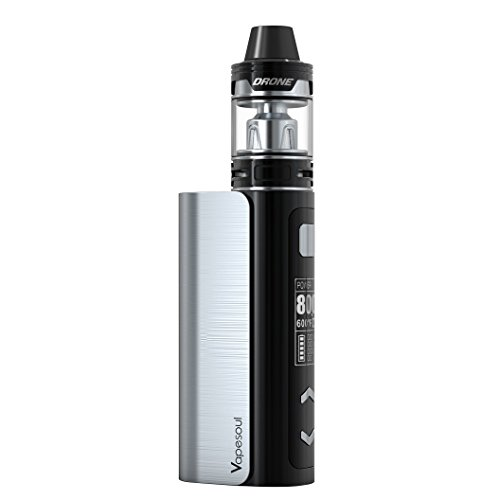 E-Zigarette/BoxMod Pluto 80W Kit - Sub Ohm Verdampfer 0,3 mit 2ml Topfill Tank, OLED-Display, schwarz, e-Shisha, Temperature controled, ohne Nikotin, Version NOX24, schwarz