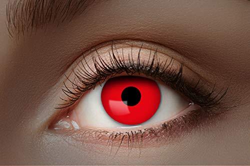 Eyecatcher - Farbige UV-Kontaktlinsen, Farblinsen, Jahreslinsen, 2 Stück, Halloween, Karneval, Fasching, neon rot