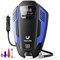 VacLife 12V Portable Air Compressor Tire Inflator with LED Light & 11.5 Feet Long Power Cord (Blue)