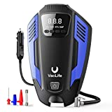 VacLife Air Compressor Tire Inflator, DC 12V Air Pump for Car Tires, Bicycles and Other Inflatables, Auto Portable Air Compressor for Car Tires with LED Light & 11.5 Feet Long Power Cord,Blue(VL711)