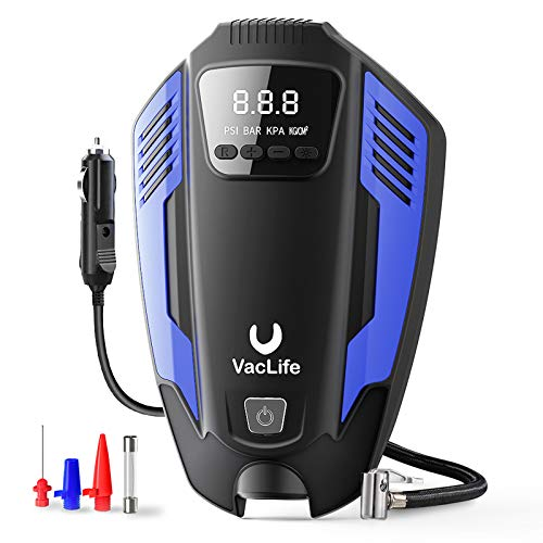 VacLife Air Compressor Tire Inflator, DC 12V Air Pump for Car Tires, Bicycles and Other Inflatables, Auto Portable Air Compressor with LED Light & 11.5 Feet Long Power Cord, Blue (VL711)