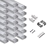 hunhun 20-Pack 6.6ft/ 2Meter U Shape LED Aluminum Channel System with Milky Cover, End Caps and...