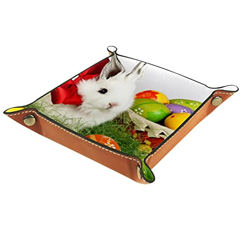 Bandeja de Valet, Catchall de Cuero PU, Bandeja organizadora, Caja de Almacenamiento para Relojes Joyas Monedas Llavero Monedero Conejo Blanco con Huevos de Pascua