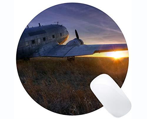 Yanteng Tappetino per Mouse Antiscivolo Rotondo con Tappetino per Mouse, Tappetino da Gioco per aeroplani di Tramonto