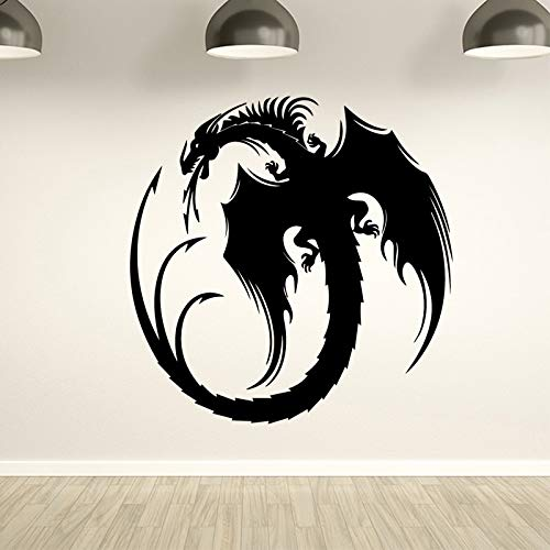 wopiaol Creative Dragon Wandaufkleber Kunst Wand Hintergrund Dekoration Vinyl Autocollant Wandbild Abnehmbare Wandaufkleber für Kinder XL 58cm X 58cm