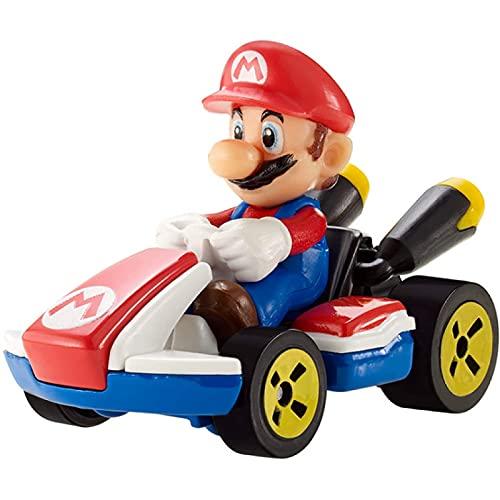 Hot Wheels 1:64 Mario Kart Mario Fundido A Presión con Figuras De Vehículos Kart Estándar, Juguetes Modelo De Coche para Niños