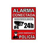 Cartel videovigilancia - Placa alarma conectada - Carteles zona videovigilada - Aviso a la Policía 20x15 cm Rojo Interior/Exterior (1 Pieza cartel videovigilancia)